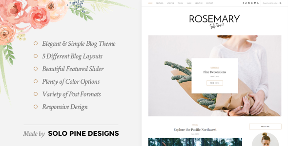 01 Preview.  large preview 1 - Rosemary - A Responsive WordPress Blog Theme