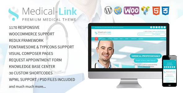 01 preview.  large preview 2 - Medical-Link - Responsive Medical WordPress Theme