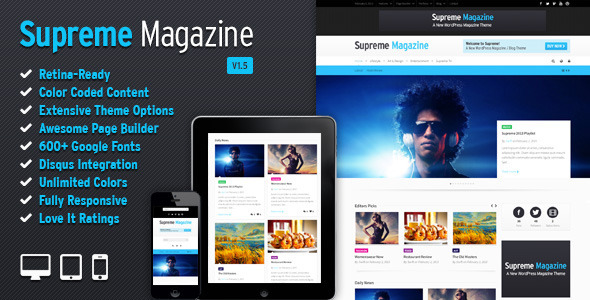 01 preview.  large preview - Supreme - Retina Responsive Magazine/Blog WP Theme