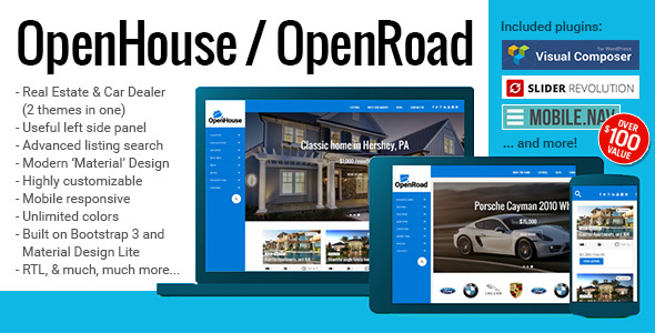 01 splash.  large preview - OpenHouse Real Estate and OpenRoad Car Dealer Responsive Material WordPress Theme