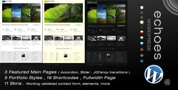 1 preview.  large preview - Echoes Premium Wordpress 11 in 1