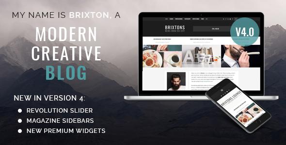 brixton wordpress blog theme version 4 normal version.  large preview - Brixton Blog - A Responsive WordPress Blog Theme