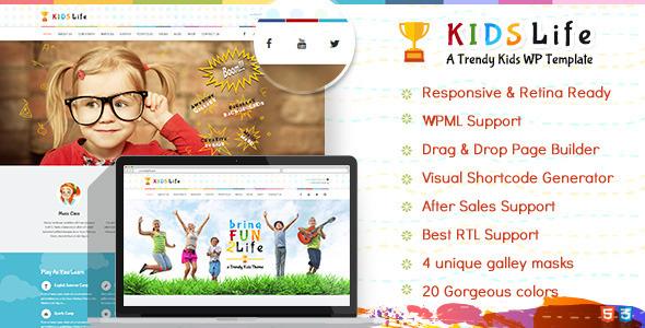 kids life wp prev.  large preview - Kids Life | Children WordPress Theme