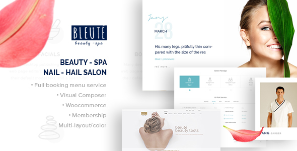 01 screenshot.  large preview - Bleute - WordPress theme Beauty | Spa | Hair Salon | Makeup | Hair | Yoga | Booking WooCommerce