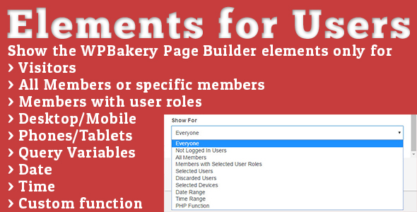 elements - Elements for Users - Addon for WPBakery Page Builder (formerly Visual Composer)