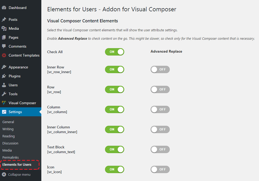 elements5 - Elements for Users - Addon for WPBakery Page Builder (formerly Visual Composer)