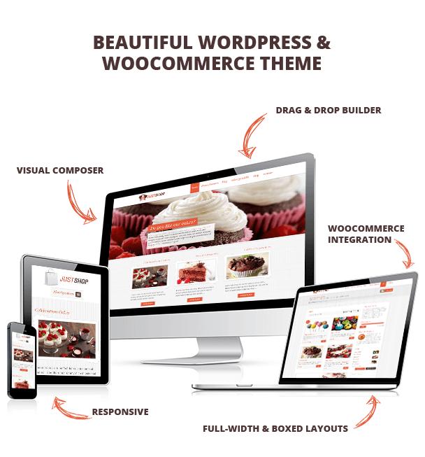 justshop4 - Cake Bakery WordPress Theme - Justshop