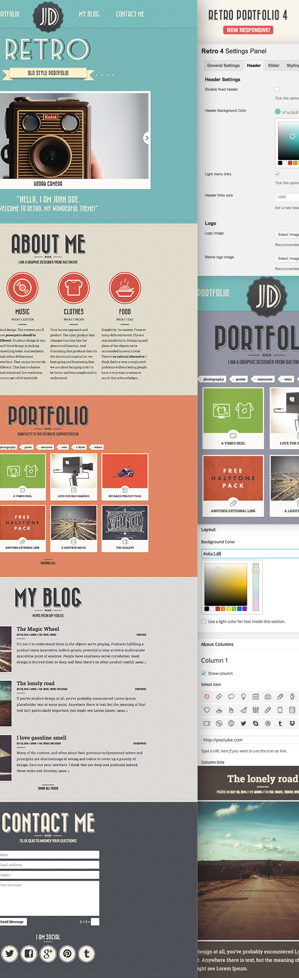 retro2 - Retro Portfolio - One Page Vintage WordPress Theme