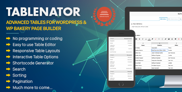 tablenator - Tablenator - Advanced Tables for WordPress & WP Bakery Page Builder
