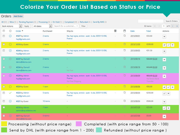 advanced4 - Advanced WooCommerce Order Status & Action Manager + Colorize filtering on Order List