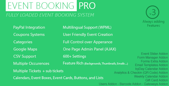 event 1 - Event Booking Pro - WP Plugin [paypal or offline]