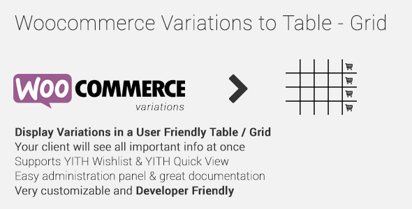 woocommerce - Woocommerce Variations to Table - Grid