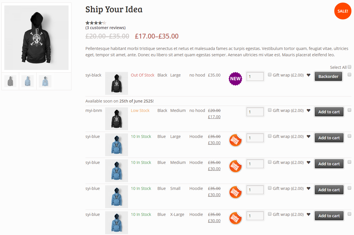 woocommerce2 - Woocommerce Variations to Table - Grid