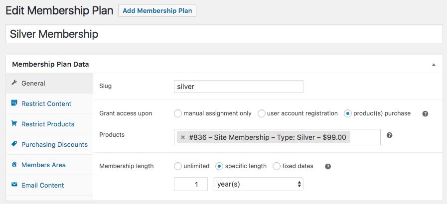 Данные плана членства