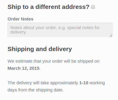 Дисплей оценивает даты доставки при оформлении заказа.