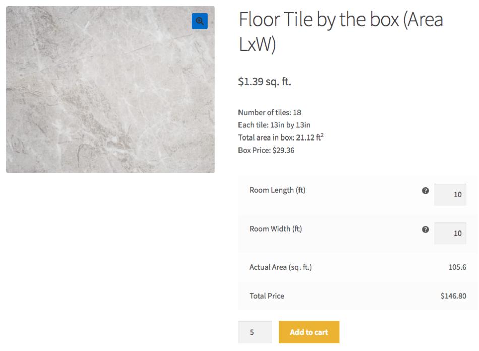 Продажа коробки из плитки с калькулятором количества