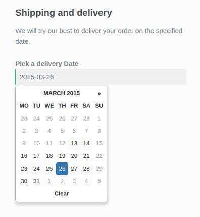 Отобразите селектор даты доставки при оформлении заказа.