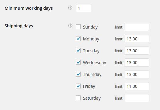 Укажите даты доставки в день недели.