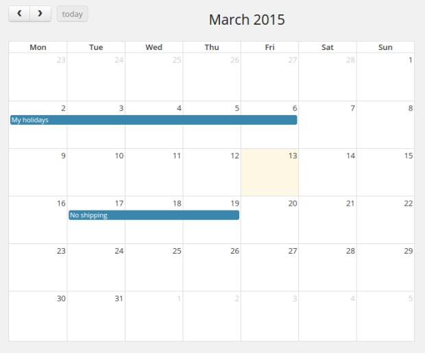 Отправка календаря в администраторе WooCommerce.