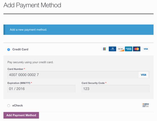 Клиент добавляет сохраненный платеж