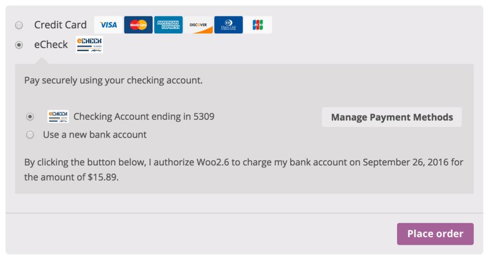 Сохраненные способы оплатыКлиенты также могут изменить свой активный способ оплаты, добавить способы оплаты и удалить способы оплаты со страницы «Моя учетная запись».Рабочий процесс «Добавить способ оплаты» является бесшовным и символизирует информацию о карте для будущего использования, не требуя от клиента пройти проверку!  Клиент добавляет сохраненный платежОбратите внимание, что у вас должна бытьвключенаслужба CIMдля учетной записи Authorize.Net. Полная поддержка подписки и предварительных заказов Authorize.Net CIM – идеальный шлюз дляподписчиков WooCommerce, предлагающий поддержку всех функций подписки – изменения даты платежа, изменения даты подписки и т. Д.Еще лучше, клиенты могут зарегистрироваться для подписки с помощью кредитной карты или eCheck.Шлюз также полностью поддерживаетпредварительные заказы WooCommerce, поэтому вы можете заранее получать информацию об оплате клиента, а затем автоматически заряжать свой способ оплаты после выпуска предварительного заказа. Полная поддержка Authorize.Net eChecks Клиенты с банковскими счетами в США могутпроверятьсвоибанковские счетадля проверки или сберегательного счета.Чтобы использовать эту функцию, у вас должна быть активнаяучетная запись Authorize.Net eCheck.  Использование eChecksПри необходимости вы можете отображатьсообщения авторизациидля транзакций eCheck, если это требуется вашей торговой учетной записью.Поддерживает подписки WooCommerce, чтобы показать сообщение «повторного заряда»!  Сообщение авторизацииЗахват платежей непосредственно с WooCommerce Некоторые пользователи предпочитают устанавливать платежный шлюз только для авторизации сборов, а не для их авторизации и захвата.Однако для этого требуется, чтобы пользователь зашел в администратор платежного шлюза для сбора сборов.Версии 2.0+ этого расширения позволяют вам произвольнозахватывать ранее разрешенные транзакциинепосредственно изэкранаредактированиязаказов WooCommerce,а не регистрироваться в панели управления Authorize.Net.Просто отредактируйте за