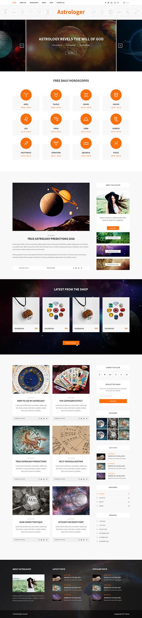 astrology wordpress theme1 1 - Astrologer