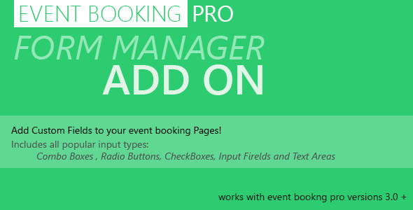 event - Event Booking Pro: Forms Manager Add on