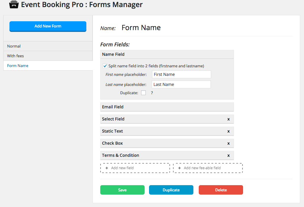 event4 - Event Booking Pro: Forms Manager Add on