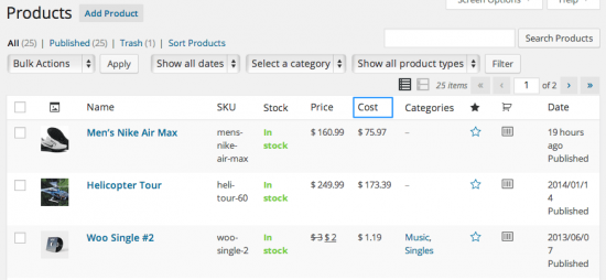woocommerce cost of goods bulk view 550x254 - Cost of Goods