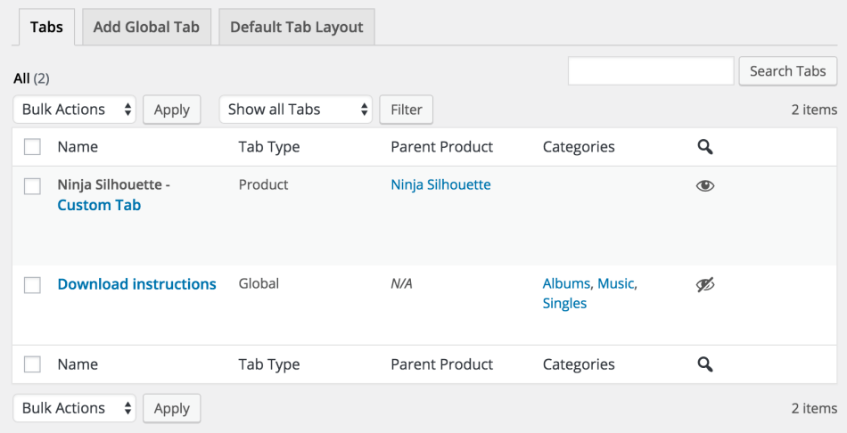 1 woocommerce tab manager tabs list - WooCommerce Tab Manager
