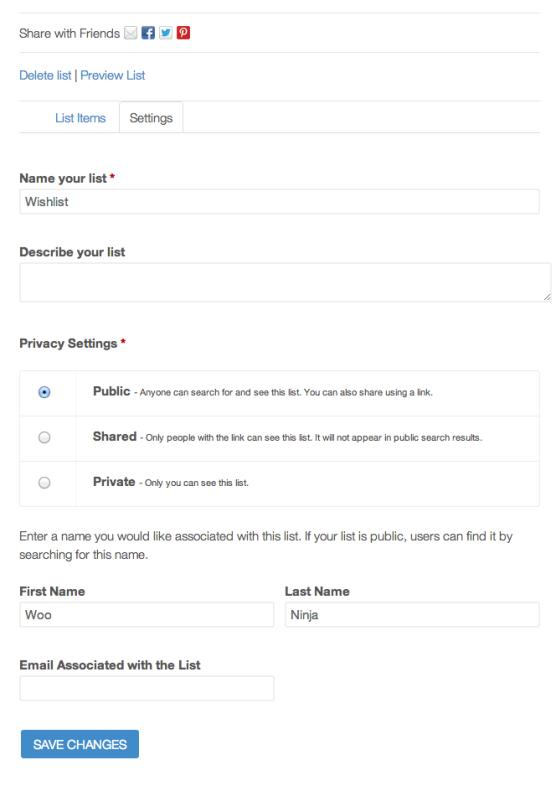 Настройки списка личных предпочтений для ваших клиентов магазина.