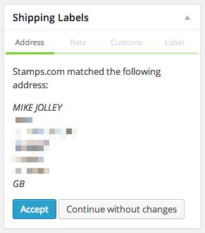 Проверка адресов Stamps.com в мета-окне администратора.