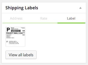 Марки Stamps.com для текущего заказа при просмотре заказа в администраторе WooCommerce.