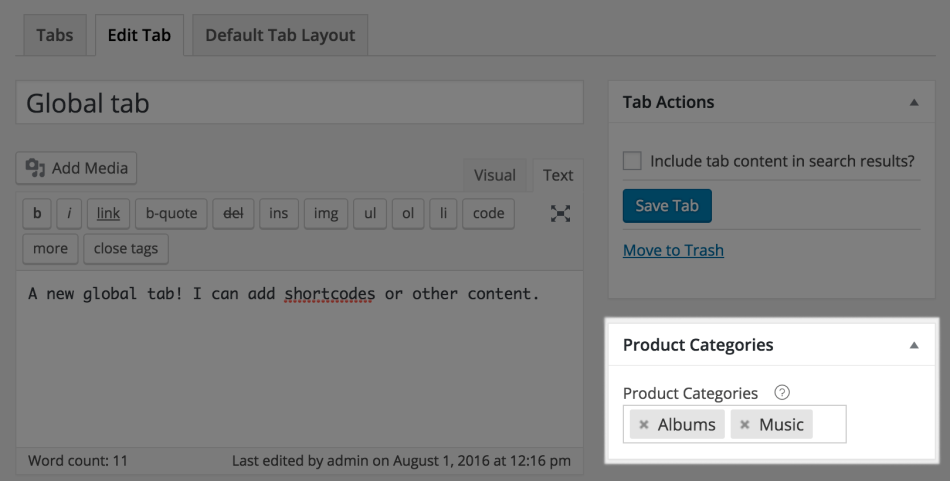 4 woocommerce tab manager global tab categories - WooCommerce Tab Manager
