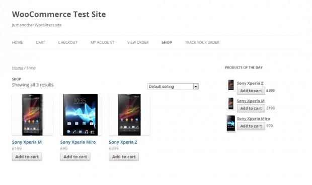 Магазин WooCommerce с виджетами «Продукты дня» активирован.
