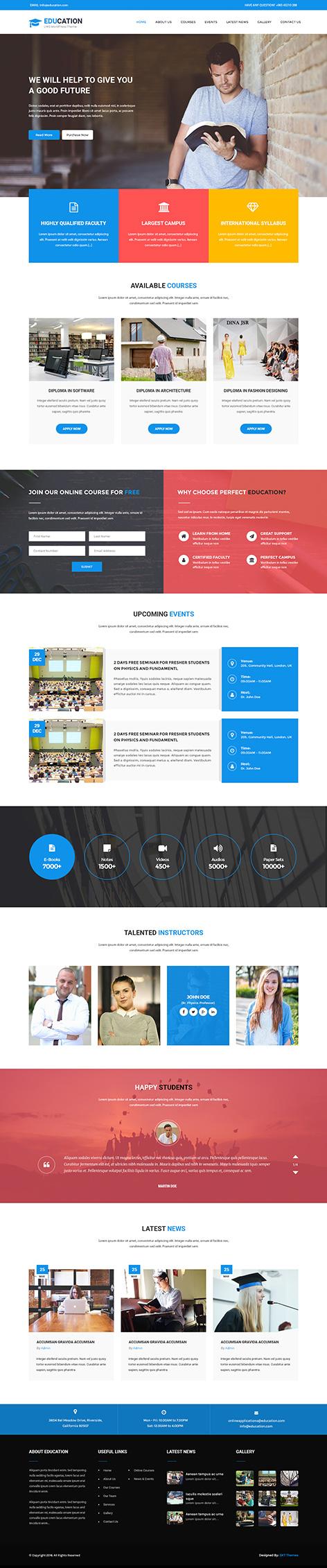LMS wordpress theme1 - Education