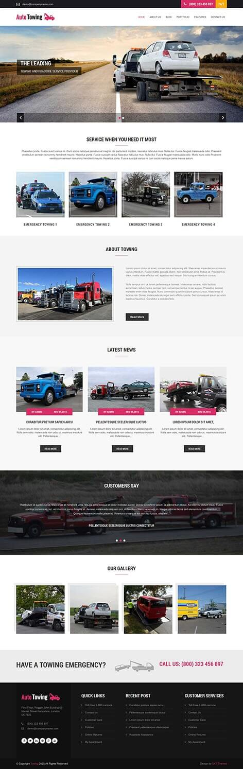 towing wordpress theme - Towing