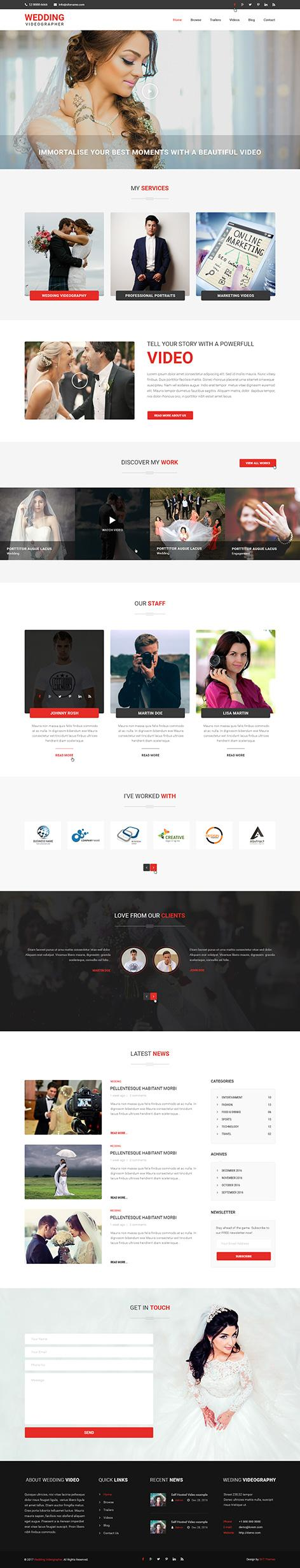 wedding videography wordpress theme1 - Wedding Videographer